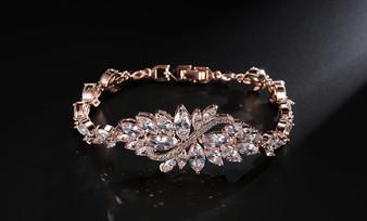 CZ Bridal Bracelet Silver, Gold or Rose Gold Plated
