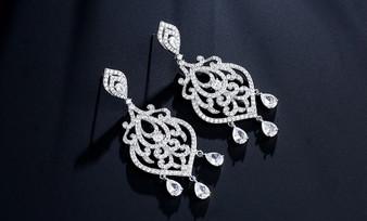 Helena Elegant CZ Crystal Drop Bridal Earrings in Silver