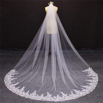 cathedral veil with floral lace