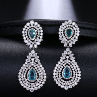 blue crystal bridal earrings