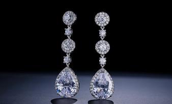 Teardrop CZ Drop Wedding Earrings in Siler, Gold, Rose Gold Plating
