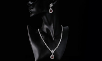 Adeline Red Earrings & Necklace CZ Bridal Jewelry Set