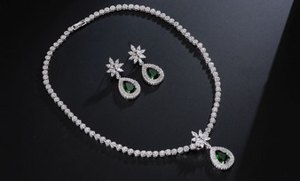 Green Earrings & Necklace Bridal Jewelry Set