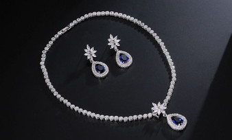 Blue Earrings & Necklace Bridal Jewelry Set