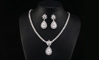 Clear Earrings & Necklace Bridal Jewelry Set