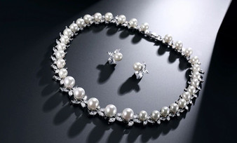 Leanna Pearl and CZ Crystal Wedding Jewelry Set