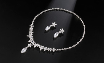 Cubic Zirconia Wedding Necklace and Earring Set