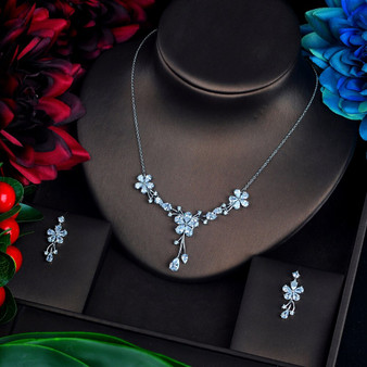 Floral Cubic Zirconia Wedding Jewelry Set
