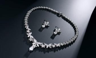 Vera Silver CZ Crystal Wedding Jewelry Set