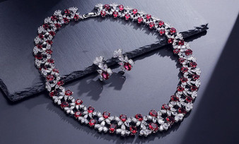 Floral Bridal Red CZ Wedding Jewelry