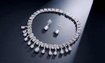 Clear CZ Crystal Wedding Jewelry Set