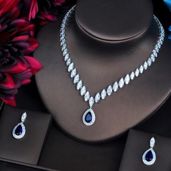 Blue Rhinestone and CZ Wedding Jewelry Set