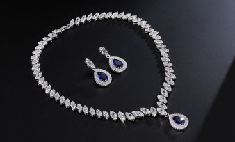 CZ Wedding Jewelry Set Blue, Green, Red, Clear