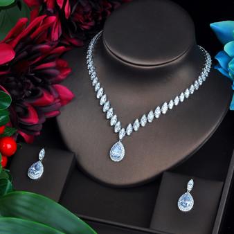 Clear Rhinestone and CZ Wedding Jewelry Set