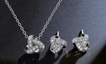 5 Sets CZ Bridesmaid Jewelry Set Silver, God, Rose Gold