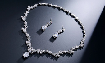 CZ Crystal Bridal Jewelry Set Silver, Gold, Rose Gold