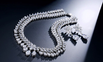 Cubic Zirconia Necklace and Earring Wedding Jewelry Set