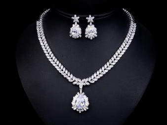 Silver CZ Crystal Wedding Jewelry Set