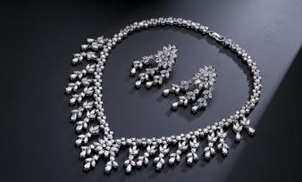 CZ Crystals Wedding Jewelry Set