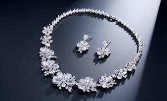Floral CZ Crystal Jewelry Set