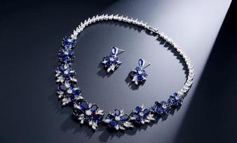 Floral Blue CZ Crystal Jewelry Set