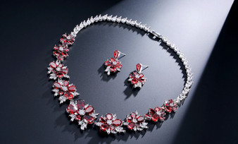 Floral Red CZ Crystal Jewelry Set