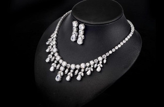 CZ Wedding Necklace and Earrings Jewelry Set
