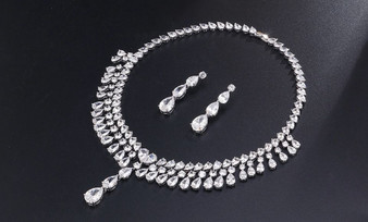 Cubic Zirconia Bridal Earrings Necklace Set
