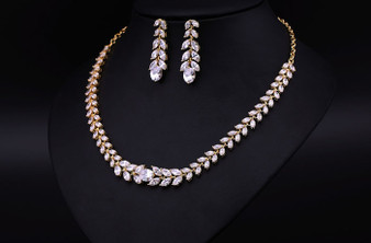 Dazzling CZ Wedding Jewelry Set Silver, Gold