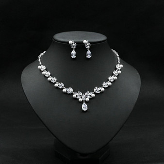 Bridal Pearl and CZ Crystal Wedding Jewelry Set