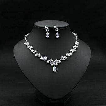 Bridal Pearl and CZ Crystal Wedding Jewelry Set
