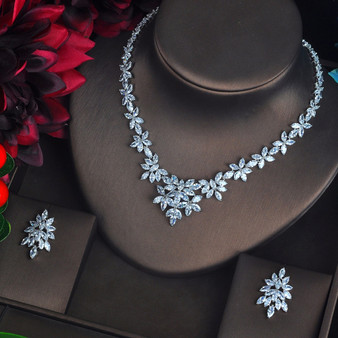 bridal necklace and earrings set with cz crystals
