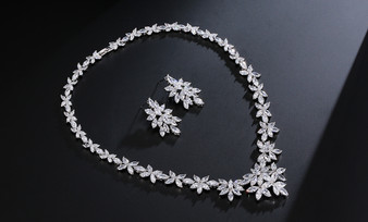 Aurelie Cubic Zirconia Necklace and Earring Wedding Jewelry Set