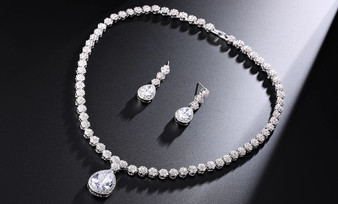 CZ Wedding Necklace and Earring Set with Crystal Pendant