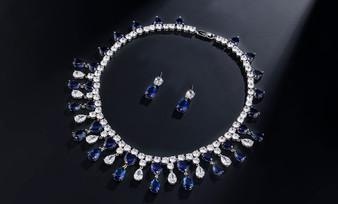 Blue CZ Crystal Wedding Jewelry Set