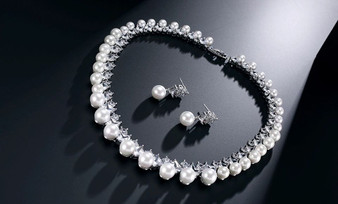 Pearl and CZ Crystal Necklace and Earrings Bridal Jewelry Set