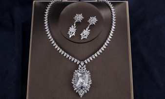CZ Pendant Necklace Wedding Jewelry Set