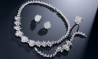 Silver Plated CZ Bridal Necklace, Earrings, Bracelet, Ring Set