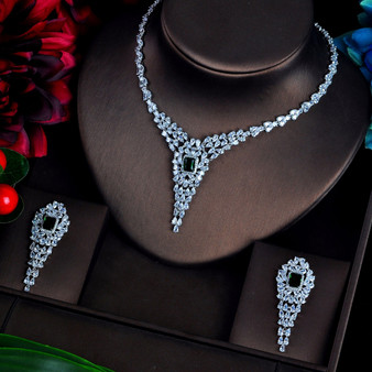 Green Cubic Zirconia Bridal Jewelry Set