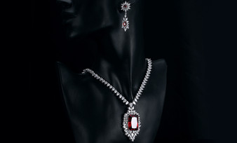 Red CZ Necklace and Earrings Jewelry Set