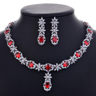 Red CZ Crystal Necklace and Earrings Jewelry Set
