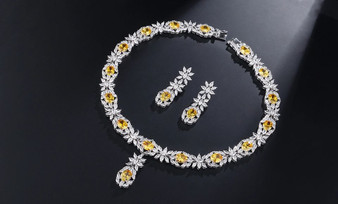 Yellow CZ Crystal Necklace and Earrings Jewelry Set