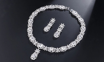 Clear CZ Crystal Necklace and Earrings Jewelry Set
