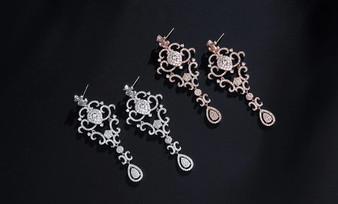 Vintage Look Crystal Wedding Earrings