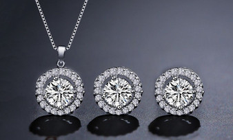 CZ Crystal Bridesmaid Pendant Earrings Set Silver, Gold, Rose Gold