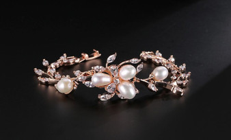 Cubic Zirconia Pearl Bridal Bracelet in Silver, Rose Gold