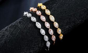 bridal cz bracelt in silver, gold, rose gold