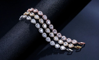 Classic CZ Crystal Wedding Bracelet in Silver, Gold, Rose Gold