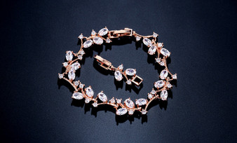 Bridal Wedding Bracelet with Sparkling CZ Gemstones in rose gold