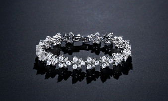 CZ Crystal Bridal Bracelet in Silver & Rose Gold